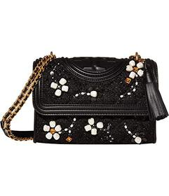Tory Burch Fleming Embellished Tweed Small Shoulde