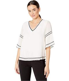 Vince Camuto Bell Sleeve Embroidered Chiffon V-Nec