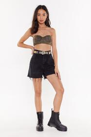 Nasty Gal Black Afterparty Reworked Denim Shorts