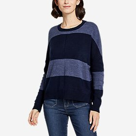 Women's Easy Crewneck Dolman Sleeve Sweater - Stri