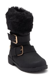 Nicole Miller Faux Fur Trimmed Boot (Toddler)