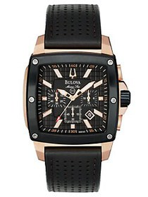 Bulova Mens Rose-Gold Square Leather Chronograph W