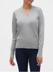 Factory Wrap-Front V-Neck Sweater