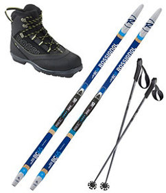 LL Bean Rossignol Back Country 65 Mounted Ski Set