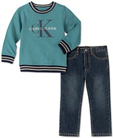 Toddler Boys 2-Pc. Fleece Logo Top & Jeans Set