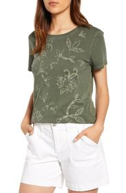 Lucky Brand Embroidered Floral Applique T-Shirt