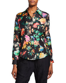 Etro Spaced Floral Print Silk Button-Front Blouse