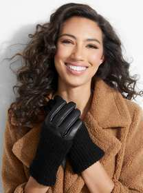 Faux-Leather And Knit Gloves