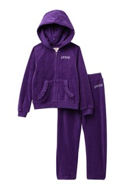 Juicy Couture Purple Hearts Velour Hoodie & Pants