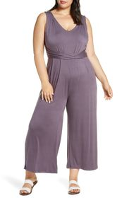 Bobeau Sleeveless Wide Leg Jumpsuit (Plus Size)