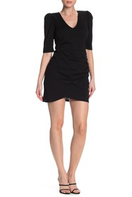 Vanity Room Puff Sleeve Ruche Mini Dress