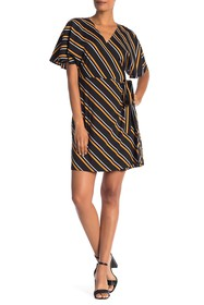 Vanity Room Multi Stripe Print Woven Wrap Dress