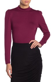 Vanity Room Long Puff Sleeve Mock Neck Top