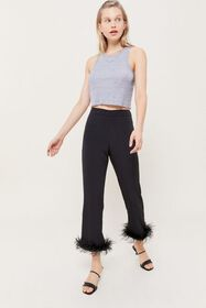 UO Faux Feather Trim Cropped Flare Pant