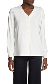 T Tahari Front Button Long Sleeve Blouse