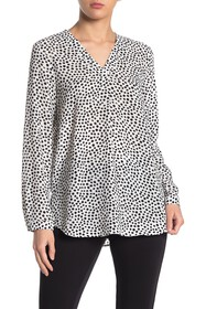 Adrianna Papell Printed Crepe Long Sleeve Blouse