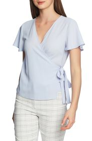 1.State Flounce Sleeve Wrap Front Top
