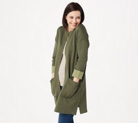 """As Is"" Martha Stewart Open Front Sweater Coatigan"