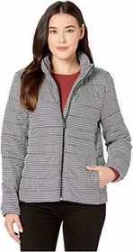 Vince Camuto Petite Houndstooth Zip Front Puffer J