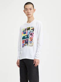 Levi's Long Sleeve Photo Collage Graphic Tee Shirt