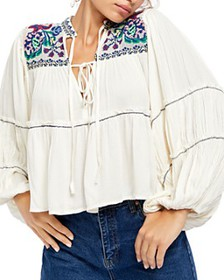 Free People - In Vivid Color Embroidered Peasant T