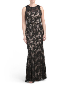 JS COLLECTIONS Sleeveless Lace Gown