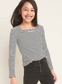 Fitted Square-Neck Rib-Knit Tee for Girls