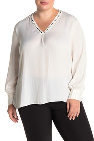 Vince Camuto Grommet Studded V-Neck Blouse (Plus S
