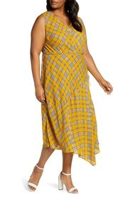 Vince Camuto Plaid V-Neck Sleeveless Highland Maxi
