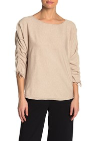 Max Studio Ruched Tie 3/4 Length Sleeve Sweater (P