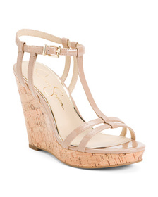 JESSICA SIMPSON Patent Cork Wedge Sandals