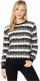 Vince Camuto Long Sleeve Striped Fringe Sweater