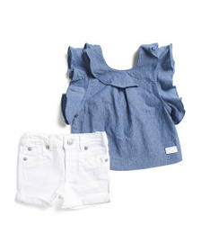 7 FOR ALL MANKIND Infant Girls 2pc Chambray Top De
