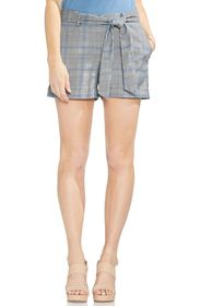 Vince Camuto Plaid Waist Tie Cuffed Shorts