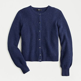 J. Crew Ribbed cardigan with jeweled buttons in su