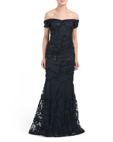 TERI JON Off Shoulder Lace Applique Gown