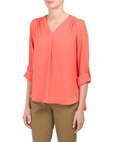 JONES NEW YORK SIGNATURE Roll Tab Blouse