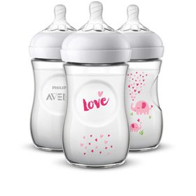 Philips Avent Natural Baby Bottle with Pink elepha