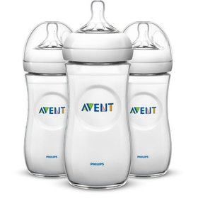 Philips Avent Natural Baby Bottle, Clear, 11oz, 3p