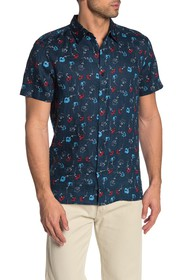 Perry Ellis Floral Short Sleeve Linen Shirt