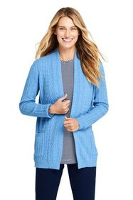 Lands End Women's Cashmere Cable Open Long Cardiga