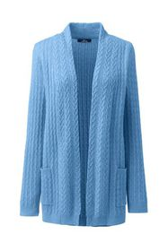 Lands End Women's Plus Size Cashmere Cable Open Ca