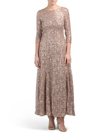 TAHARI BY ASL Petite V-back Sequin Lace A-line Gow