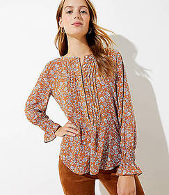 Petite Floral Pintucked Henley Blouse