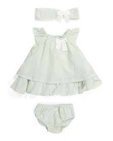 CATHERINE MALANDRINO Newborn Girls Swiss Dot Dress