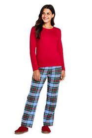 Lands End Women's Pajama Set Knit Long Sleeve T-Sh