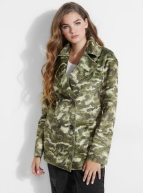 Camouflage Faux Pony-Hair Coat