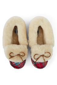 Lands End Women's Shearling Fur Moccasin Slippers-