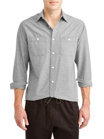 Lee Men's Long Sleeve Chambray Button Down with 2