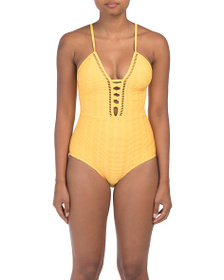 NICOLE MILLER Ribbed Lace Up Mio One-piece Swimsui